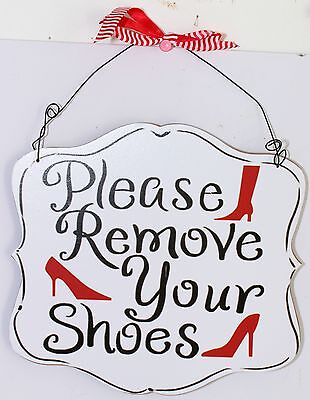 Please Remove Your Shoes Red Heels Girl WALL PLAQUE Sign 19cm Bedroom Office Bar