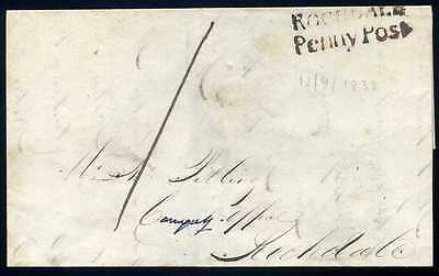 Lancashire 1838 'ROCHDALE/PENNY POST' In Red sent locally