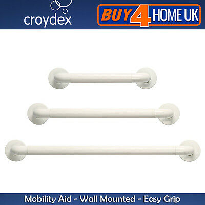"Croydex White Easy Grip Grab Handle Bar Rail 12"" 18"" 24"" Mobility Aid"