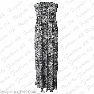 Ladies Womens NEW SKULL Print Shirring Bandeau Maxi Dress Plus Normal Sizes 8-22
