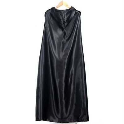 Black Halloween Costume Theater Prop Death Hoody Cloak Devil Long Tippet Cape OK