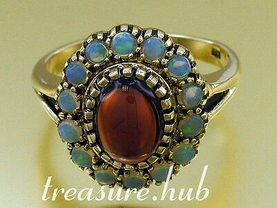 C028 Vintage sty Genuine  9ct Gold NATURAL GARNET & OPAL Cluster Ring in yr size
