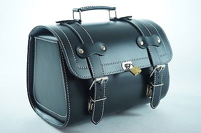 Small Leather Top Case Front Rack Roll Bag Vespa PX LXV GTS GTV, Vintage Black
