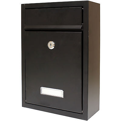 Hardcastle Lockable Black Wall Mounted Letter Mail Box Letterbox/Postbox/Mailbox