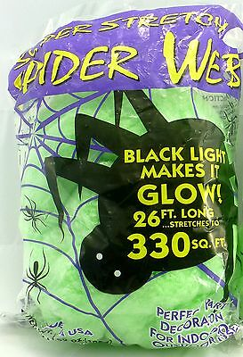 Halloween Green Stretchable Spider Web - 330 sq ft. Scary Webs Funworld Decor