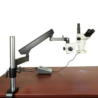 OMAX 6.7X-45X Articulating Arm True Trinocular Microscope with 80-LED Ring Light