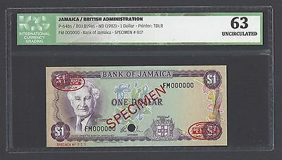Jamaica One Dollar ND 1982 P64bs Specimen TDLR Uncirculated