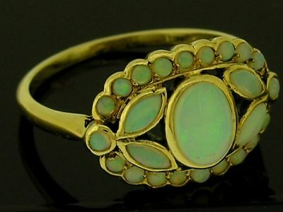 C1185- Genuine 9ct Solid Gold NATURAL Fiery Opal Cluster Ring made in your size