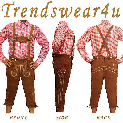 German Bavarian Oktoberfest Trachten Mens Wear Brown Kniebund Lederhosen Costume