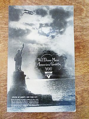 1910s WWI Returning Troops Soldiers YMCA Postcard Statue of Liberty NYC NY Used