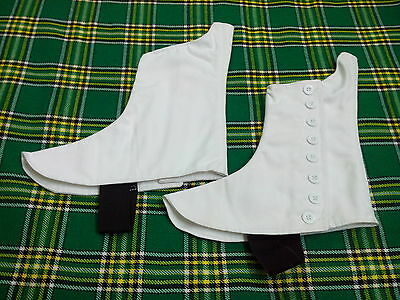 H.W Highland Pipers Drummer Kilt Spats for Pipe Bands White Buttons  SIZES 7-13