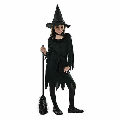 Girls Little Witch Halloween Fancy Dress Costume Childrens Complete Outfit