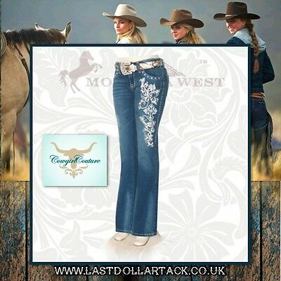 Ladies Trinity Ranch Designer Jeans Fleur De Lis Embroidery & Crystals ~ Size 14