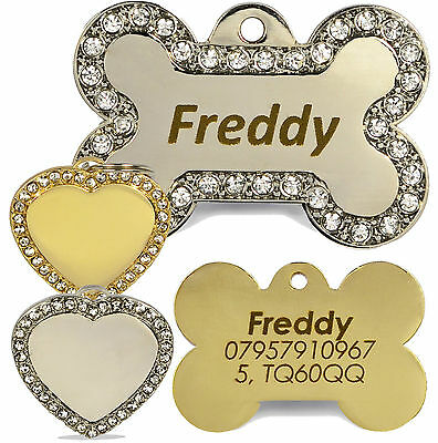 Engraved Diamante Bling Pet ID Dog Tags, BOLD Contrasting Text, Heart/Bone tag