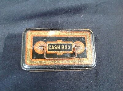 "Vintage Cash Box Tin 1930's  4""x 1 1/2"""