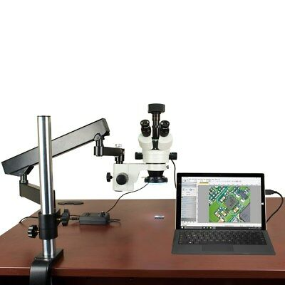 3.5X-90X 14MP USB3 Digital Zoom Stereo Articulating Arm Microscope 144 LED Light