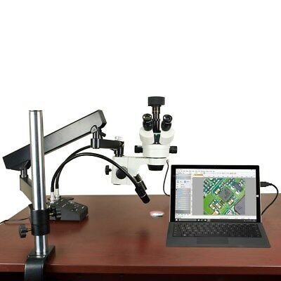 2.1X-180X 14MP USB3.0 Digital Articulating Zoom Stereo Microscope 6W LED Light