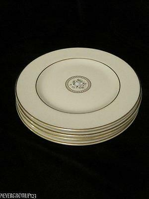 "Tc1259 Royal Doulton Gabrielle 6.5"" Bread & Butter Plates~Set/4~Gold Trim~Euc"