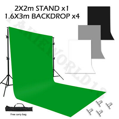 Photo Studio Screen 2x3m Black White Green Backdrop Background Support Stand Kit