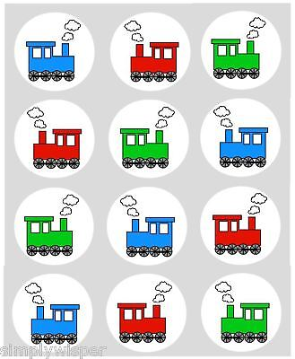 12 Toy Train Cupcake Decoration Edible Cake Toppers Pre Cut 40mm