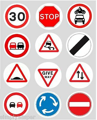 12 Road Signs Cupcake Decoration Edble Cake Toppers Pre Cut 40mm Car Learner