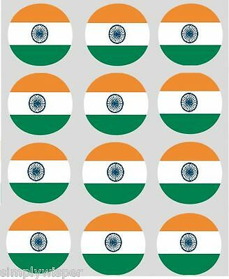 12 Indian Flag Cupcake Toppers Ricepaper India Cake Decorations pre-cut