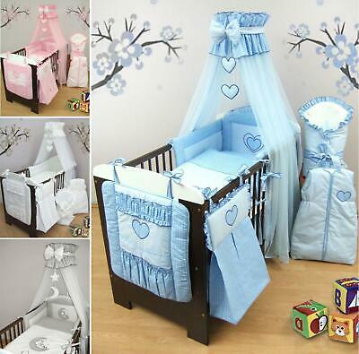 Stunning Cot Cot Bed Bedding Set 3 10 15 19 Piece Duvet Bumper Canopy Holder
