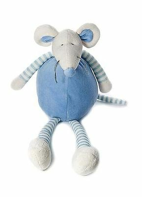 34cm Blue Cuddly Mouse  Soft Toy Cot Toy for New Born Baby Boy