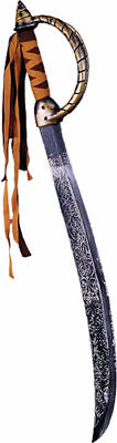 Morris Costumes New Safe Leather Banding Fringe Pirate Plastic Sword. FW8042P