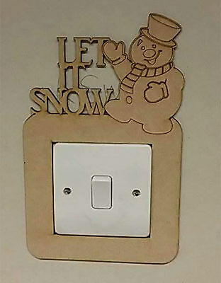 Let It Snow Snowman Light Switch Surround - 3mm MDF Wooden Christmas Craft Xmas