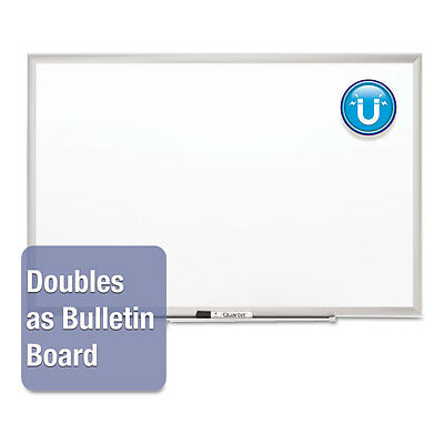 Classic Series Porcelain Magnetic Board, 48 x 36, White, Silver Aluminum Frame