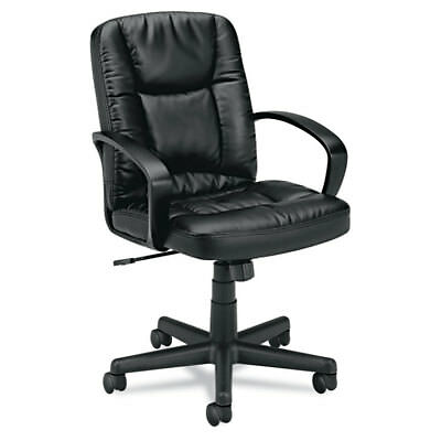 VL171 Series Executive Mid-Back Chair, Black Leather