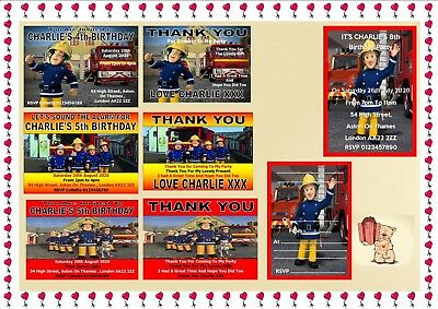 Fireman Sam Penny Childrens Birthday Party Invitations Thank You Cards