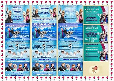 Disney Frozen Birthday Party Invitations Kids Childrens Thank You