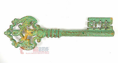 "15"" Extra Large Decorative Skeleton Key Cast Iron Distressed Turquoise Old Style"