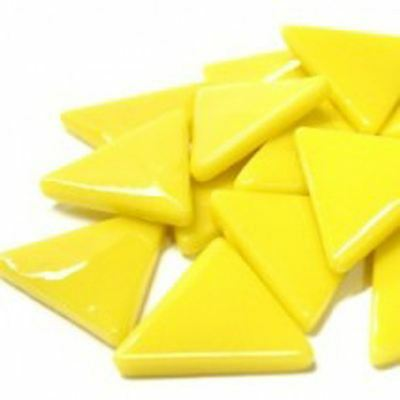 15 Bright Yellow Triangle Shaped Glass Mosaic Tiles