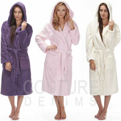 Ladies Dressing Gown Robe Soft Hooded Plain Fluffy Snuggle Fleece Luxurious Warm