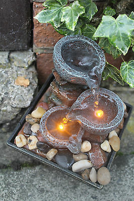 Battery operated stone effect water fountain indoor water fountain with light