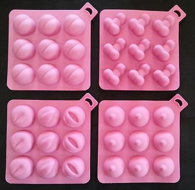 ADULT ONLY Penis Willy Bottom Bum Boobs Chocolate Ice Tray Cake Topper Mold Soap