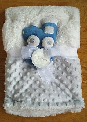 Kyle & Deena Gray Blue Minky Dots White Fluffy Soft Baby Blanket Toy Train Nwt