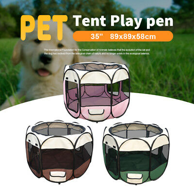 "Pet Soft Playpen Puppy Dog Cat Play Crate Cage Enclosure Tent Portable 35"" & 48"""