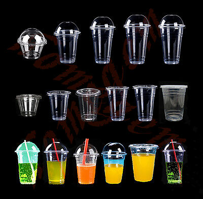 30SET Plastic Clear Cup with Dome/Flat Lid 4 Iced Coffee Drink Tea 8-33oz CHOICE