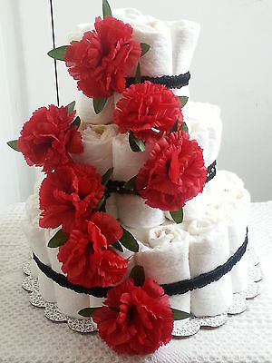 3 Tier Red Black & White Floral Flower Diaper Cake Baby Shower Gift Centerpiece