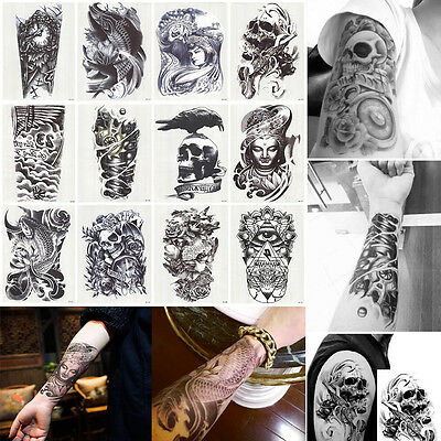 12 Sheet Large Temporary Tattoo Body Arm Art Removable Tattoo Waterproof Sticker