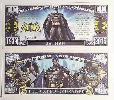 RARE: BATMAN $1,000,000 Novelty Note, Cartoons Buy 5 Get one FREE