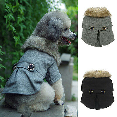 Pet Small Dog Wool Neck Coat Puppy Cat Winter Warm Thick Outwear Jacket Costume