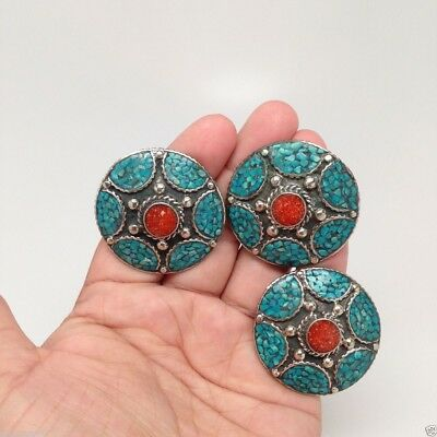 Vintage Tribal Rectangle Nepalese Coral,Turquoise Round Ring German Silver