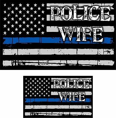 Tattered Police Officer WIFE Thin Blue Line reflective American Flag Decal x 2