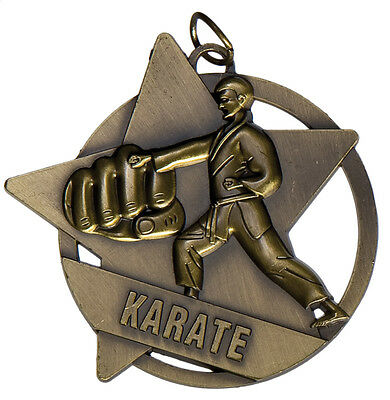 Karate Antique Gold  Medal 50mm  Diameter Engraved FREE / Ribbon Included