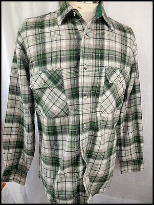 Vintage 1970s Green Plaid Wool/Nylon WoolOTheWest by Commando Shirt Medium